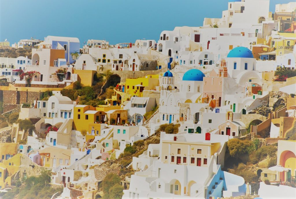 Santorini houses are colored, as Stéphane Demazure says